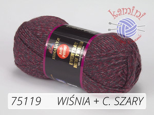 Everyday New Tweed 75119 wiśnia + ciemny szary