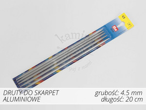 Druty do skarpet aluminiowe 4,5mm Prym