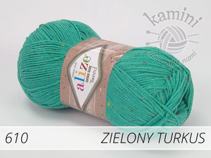 Cotton Gold Tweed 610 zielony turkus